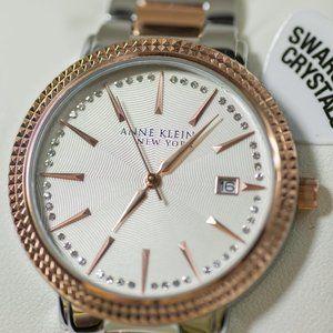 Anne Klein Women's Silver Rose Gold Watch